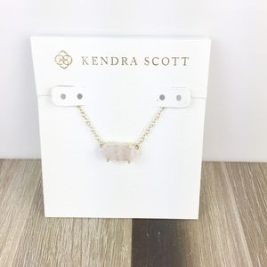 Kendra Scott Ever rose quartz gold necklace